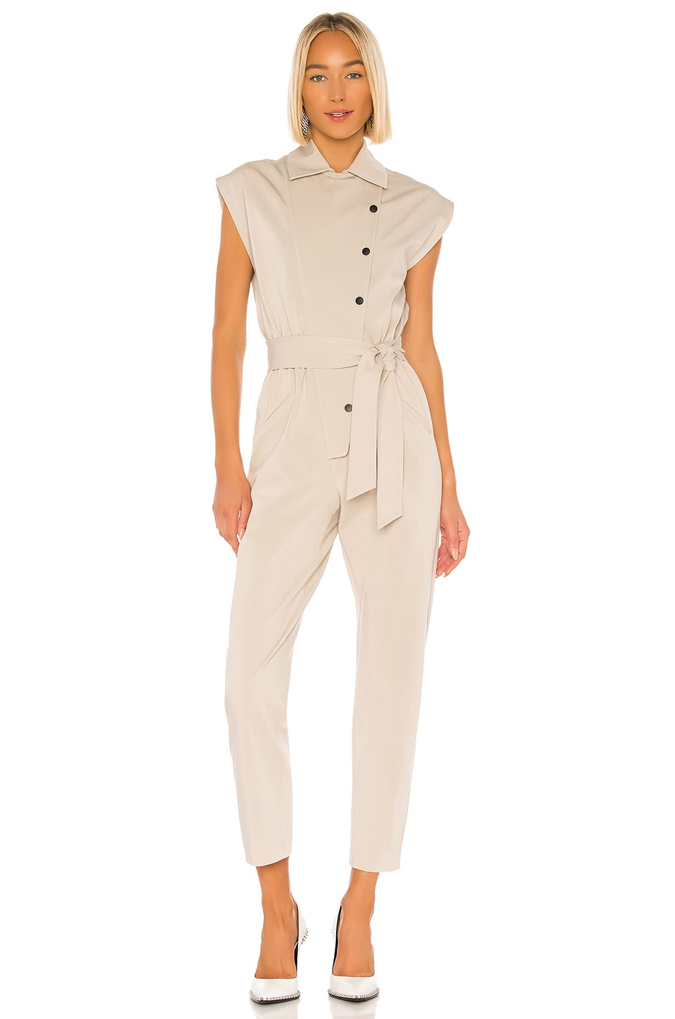 Piece of White Lea Jumpsuit in Stone