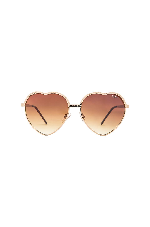 Quay Hearts Sunglasses in Gold