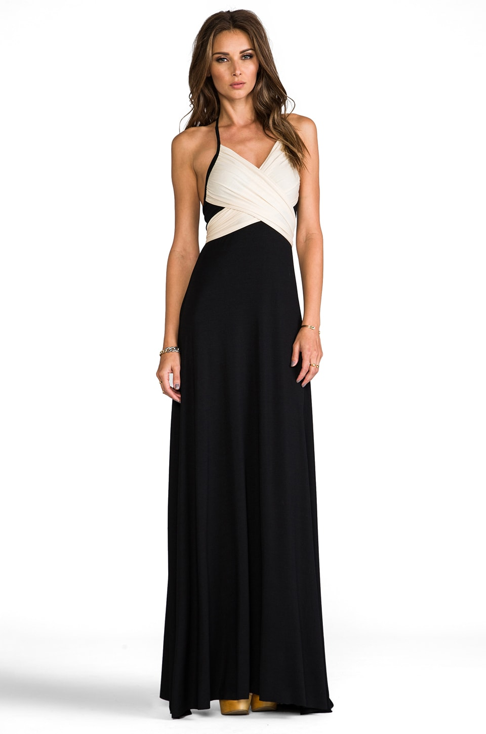 Rachel Pally Two Tone Halter Dress in Black & Cream