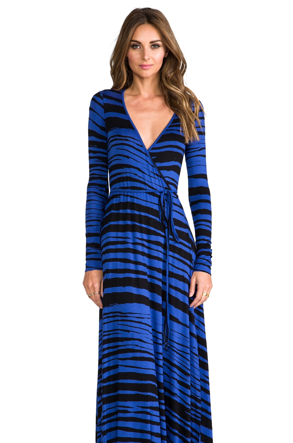 Rachel Pally Long Wrap Dress in Cobalt Painted Stripe