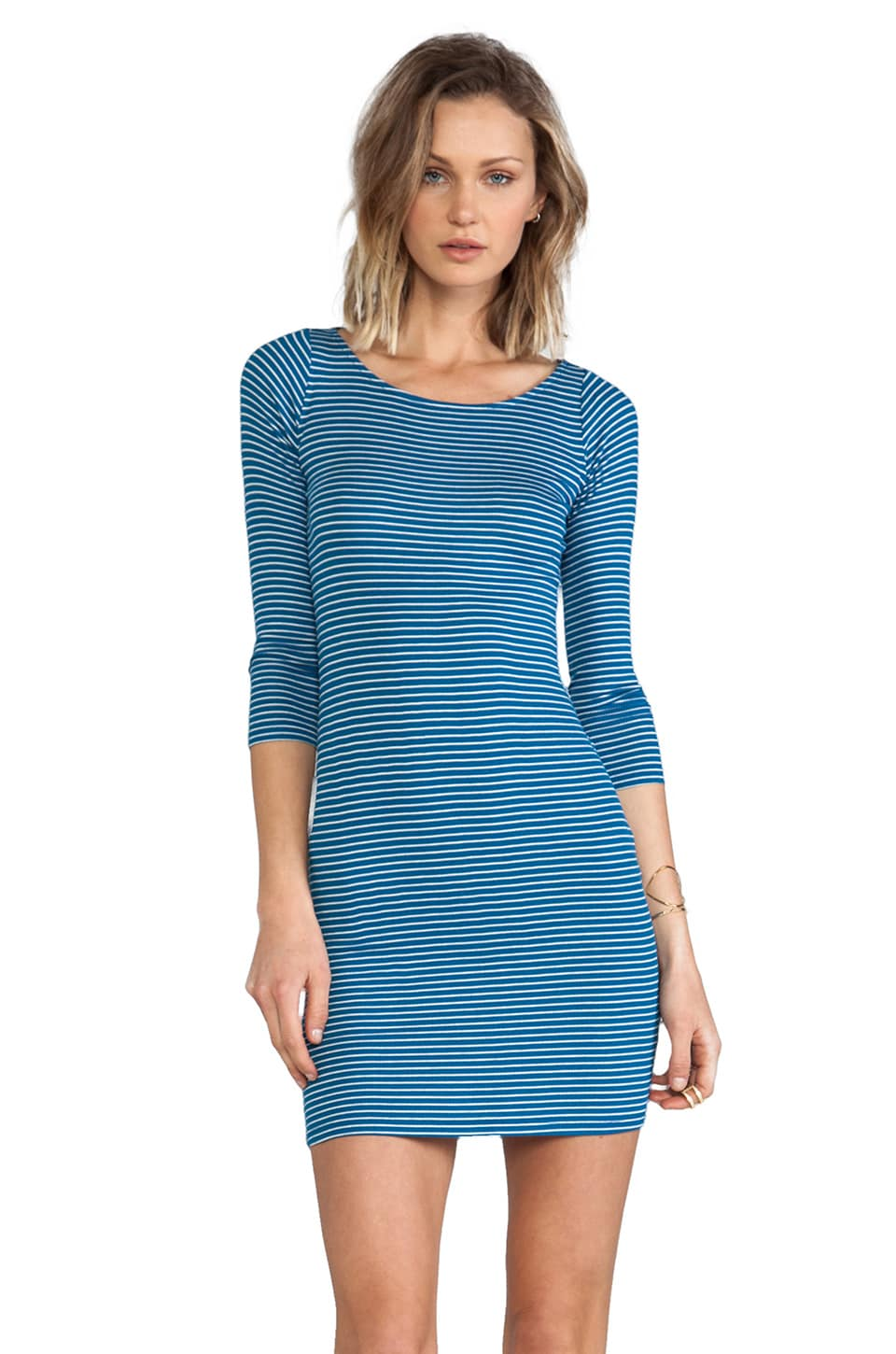 Rachel Pally Rib 3/4 Sleeve Bianca Dress in Blue Stripe