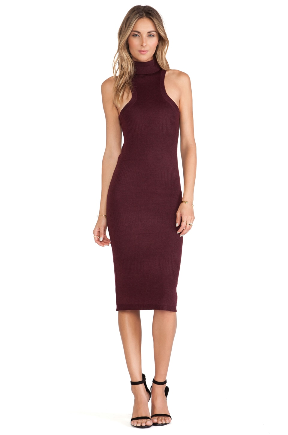 Rachel Pally Turtleneck Mid-Length Dress in Malbec