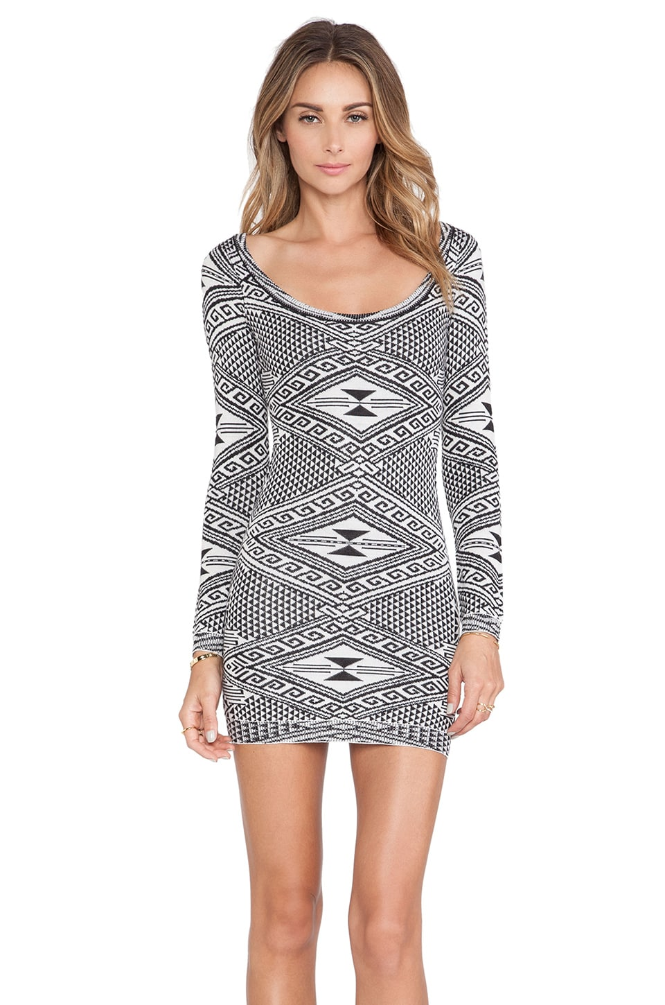 Rachel Pally Long Sleeve Mini Dress in Cream Intarsia