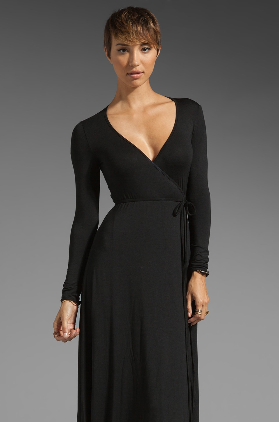 Rachel Pally Long Wrap Dress in Black