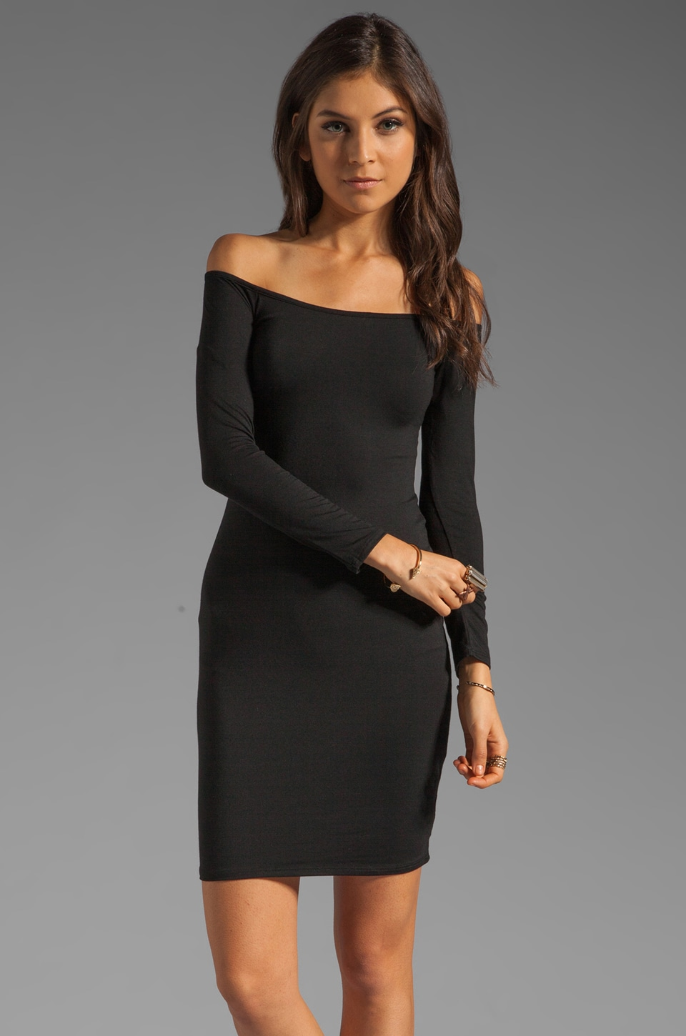 Rachel Pally Jagger Off the Shoulder Dress in Black