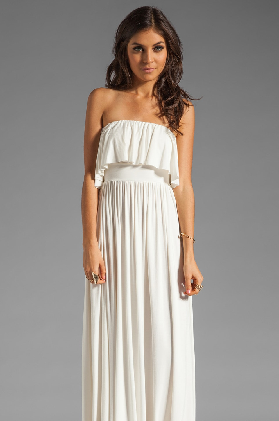 Rachel Pally Sienna Strapless Maxi Dress in White