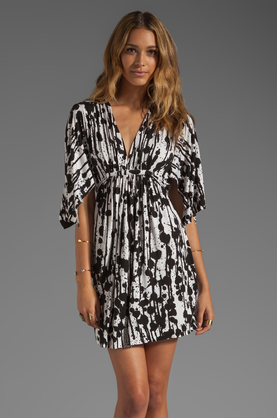 Rachel Pally Mini Caftan Dress in Black Splatter