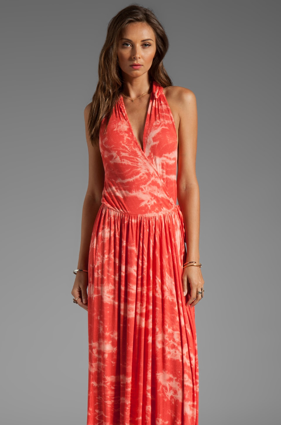Rachel Pally Rib Stanley Maxi Dress in Apricot Tie Dye