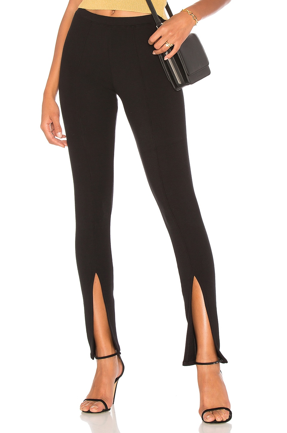 Rachel Pally Luxe Rib Front Slit Pant in Black