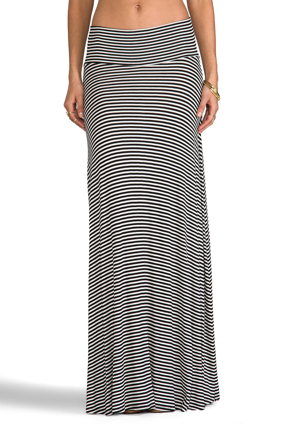 Rachel Pally Rib Long Full Skirt in Cream Stripe