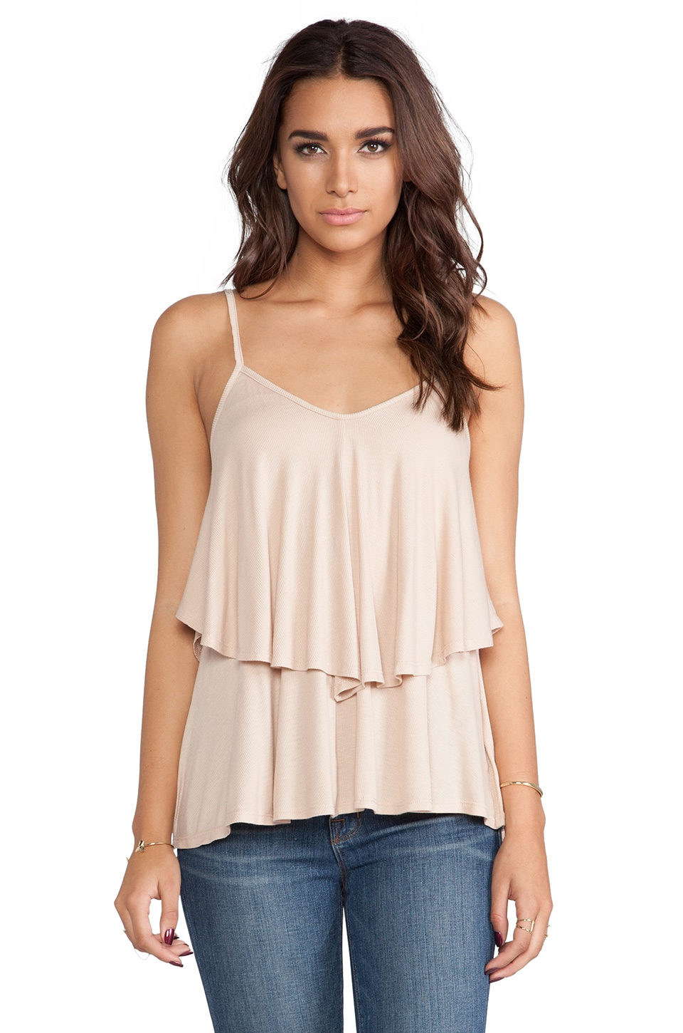 Rachel Pally Rib Ruffle Top in Bamboo