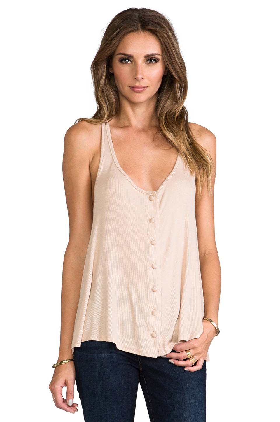 Rachel Pally Rib Button Down Slouch Tank in Bamboo