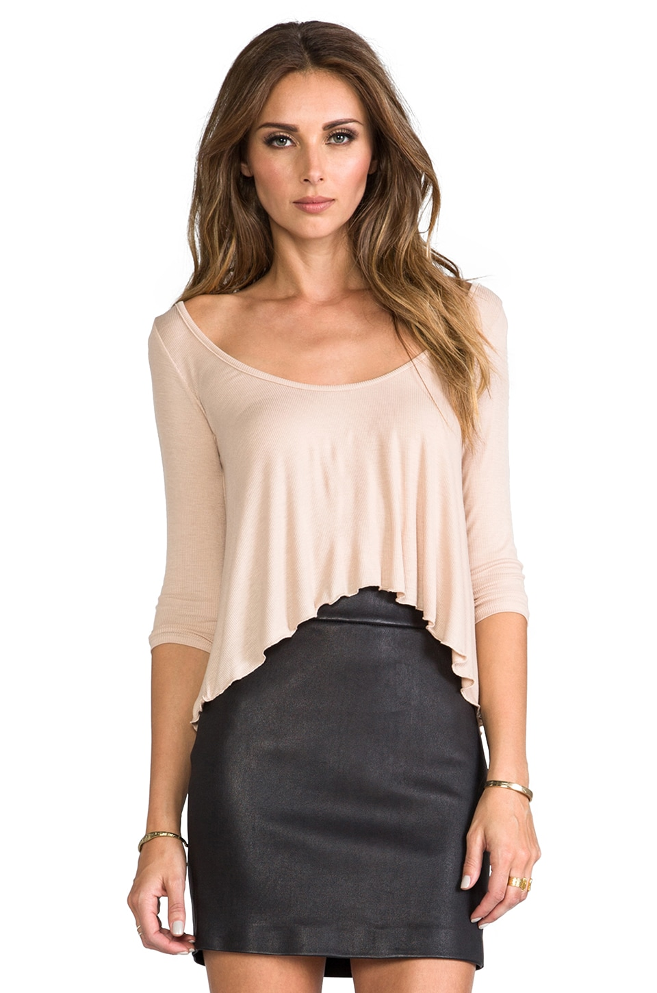Rachel Pally Rib 3/4 Sleeve Cropped Top in Bamboo