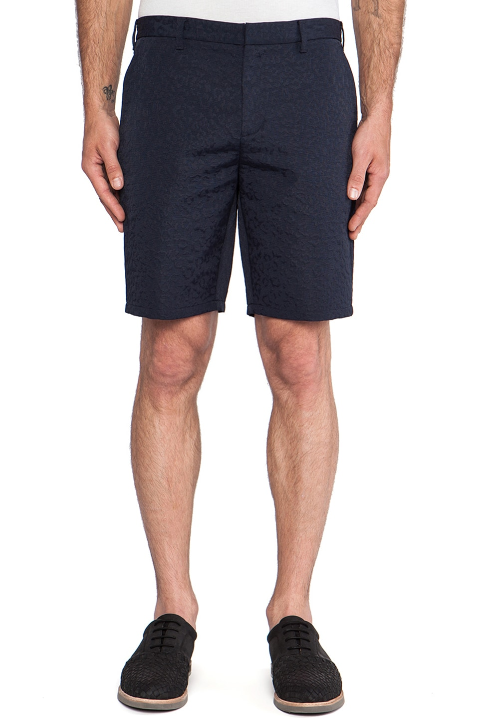 Fred Perry x Raf Simons Tonal Leopard Slim Short in Navy