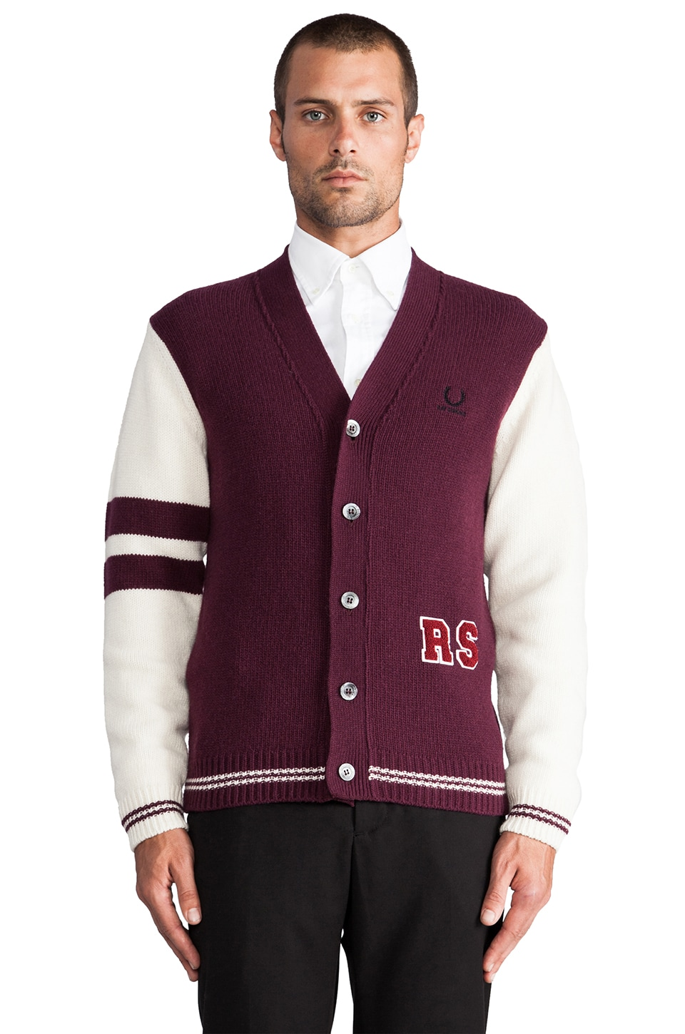 Fred Perry x Raf Simons Knitted Cardigan in Deep Burgundy