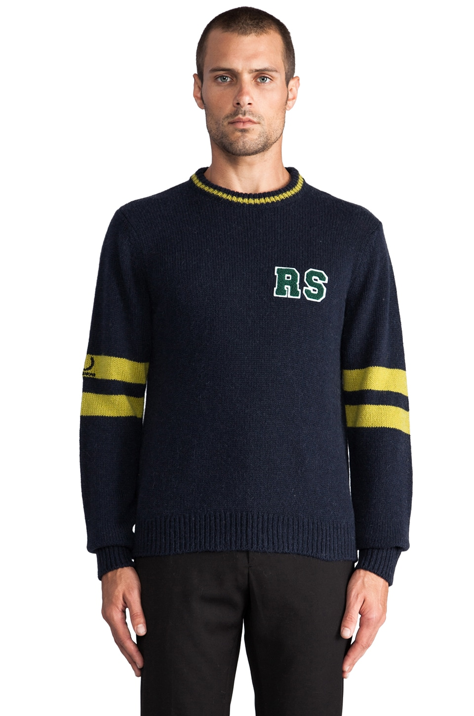 Fred Perry x Raf Simons Knitted Round Neck Sweater in Navy
