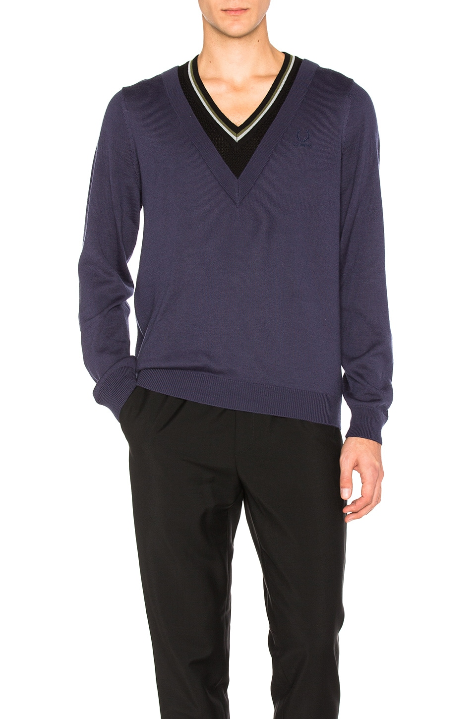 Double Layer V Neck Sweater by Fred Perry x Raf Simons