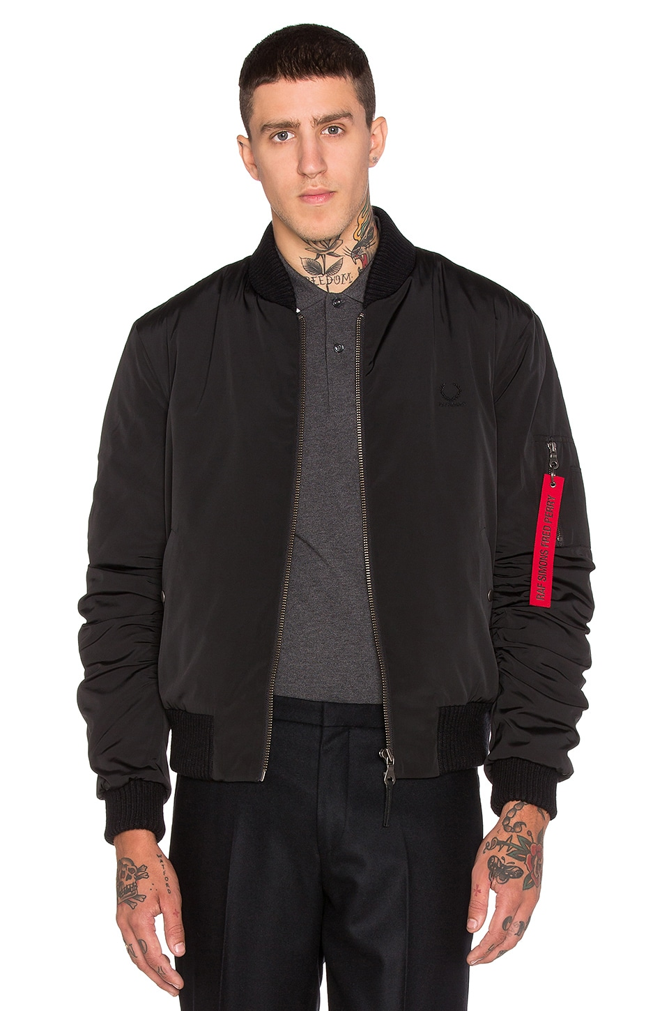 Fred Perry x Raf Simons Quilted Bomber Jacket in Soho Black | REVOLVE