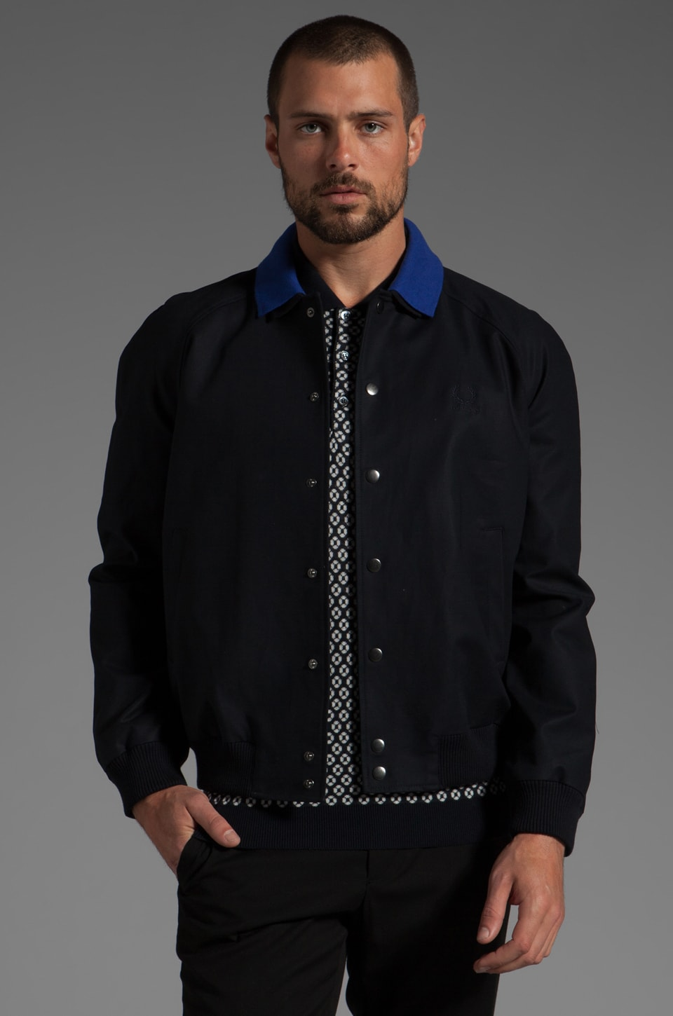 Fred Perry x Raf Simons Bomber Jacket w/ Detachable Collar en Marine