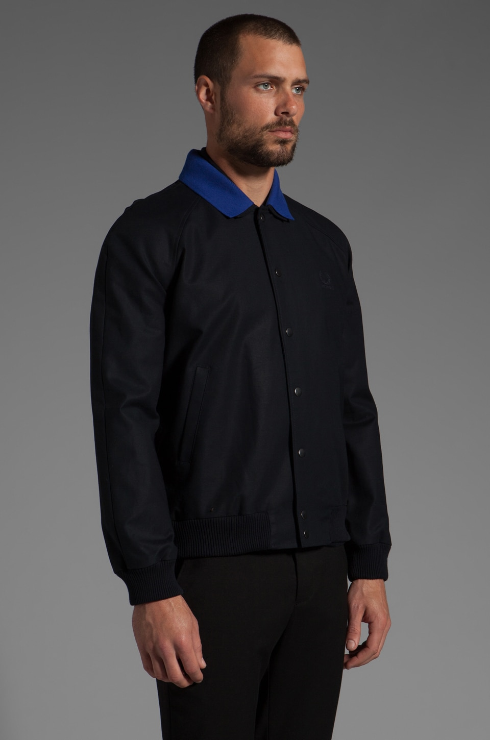 Fred Perry x Raf Simons Bomber Jacket w/ Detachable Collar in Navy