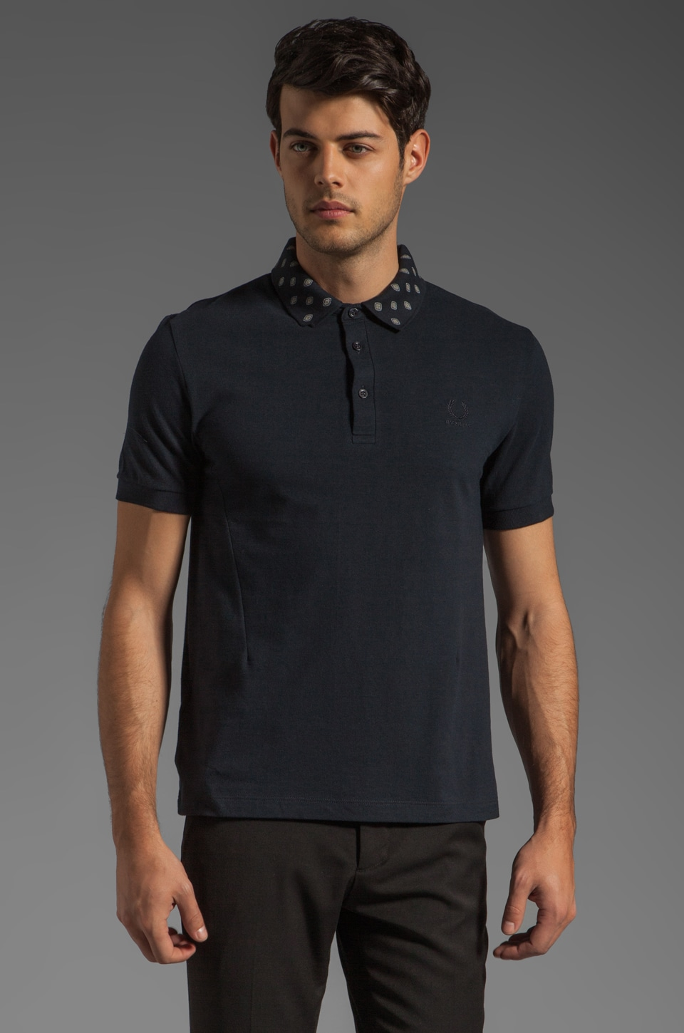 Fred Perry x Raf Simons Fred Perry Shirt w/ Printed Detachable Collar Polo in Navy
