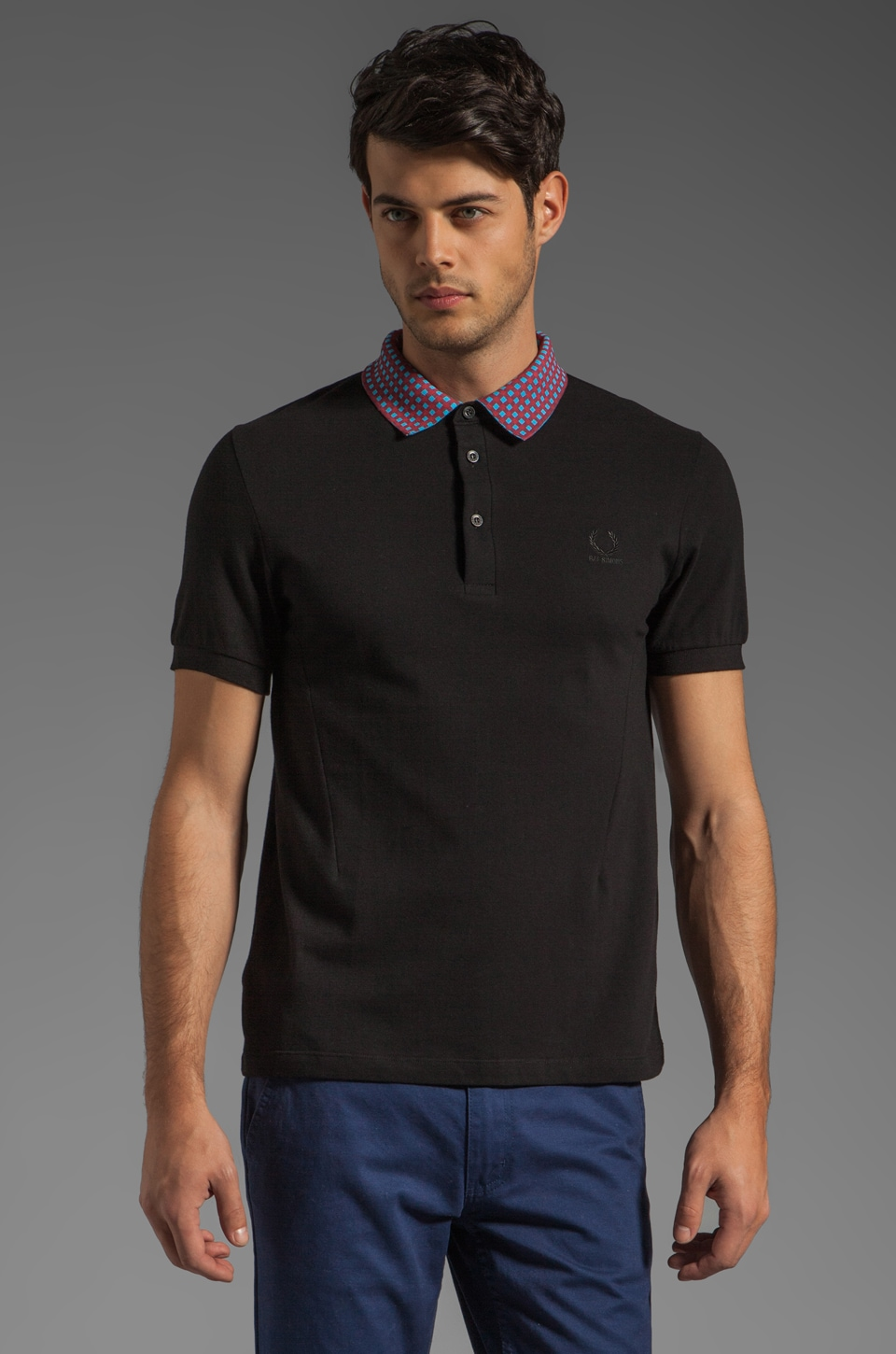 Fred Perry x Raf Simons Fred Perry Shirt w/ Checked Detachable Collar Polo in Black