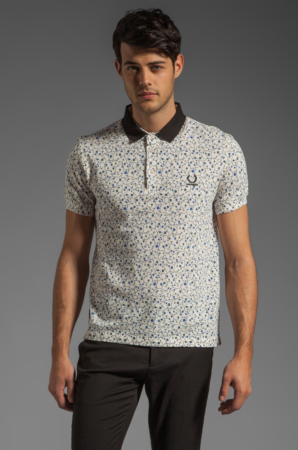 Fred Perry x Raf Simons Fred Perry Floral Print Shirt Polo in White