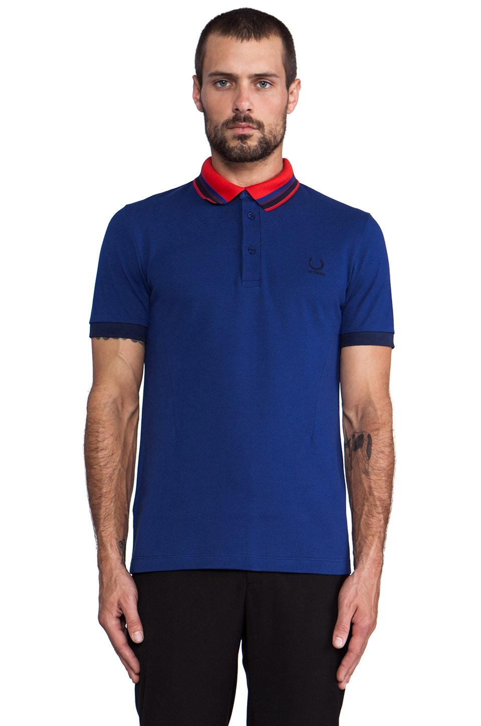 Fred Perry x Raf Simons Shirt w/ Detachable Collar in Mid Blue