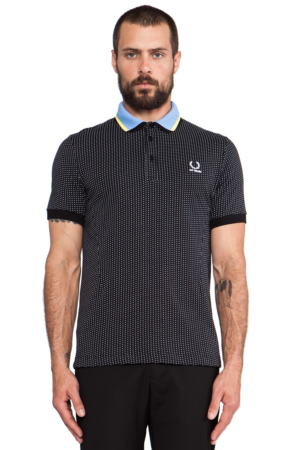 Fred Perry x Raf Simons Jacquard Square Fred Perry Shirt in Black