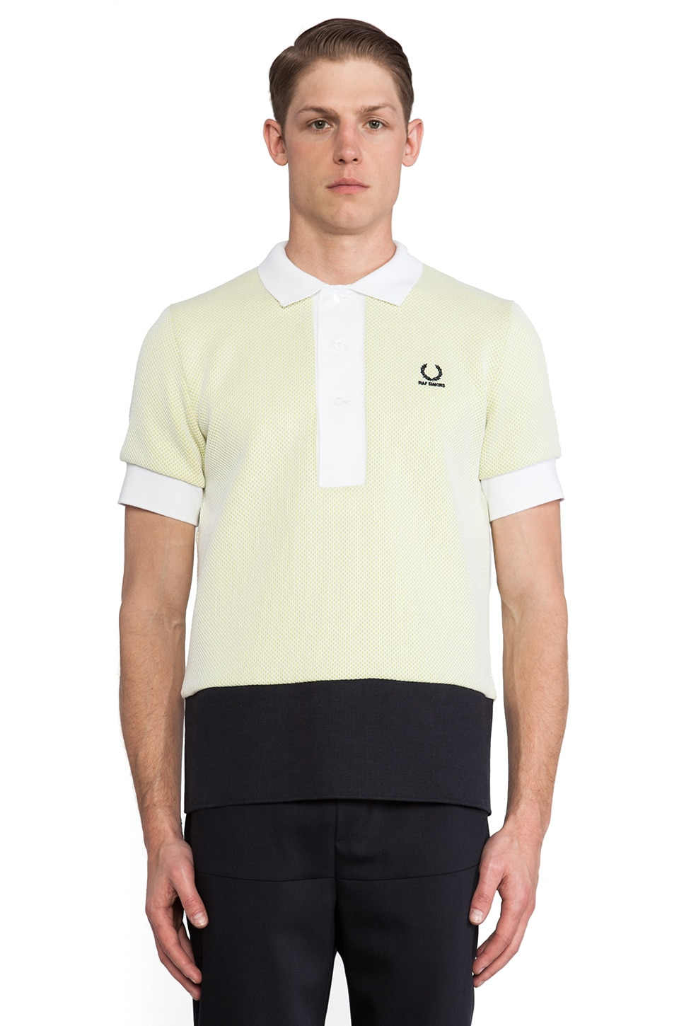 Fred Perry x Raf Simons Mesh Colour Block Fred Perry Shirt in White
