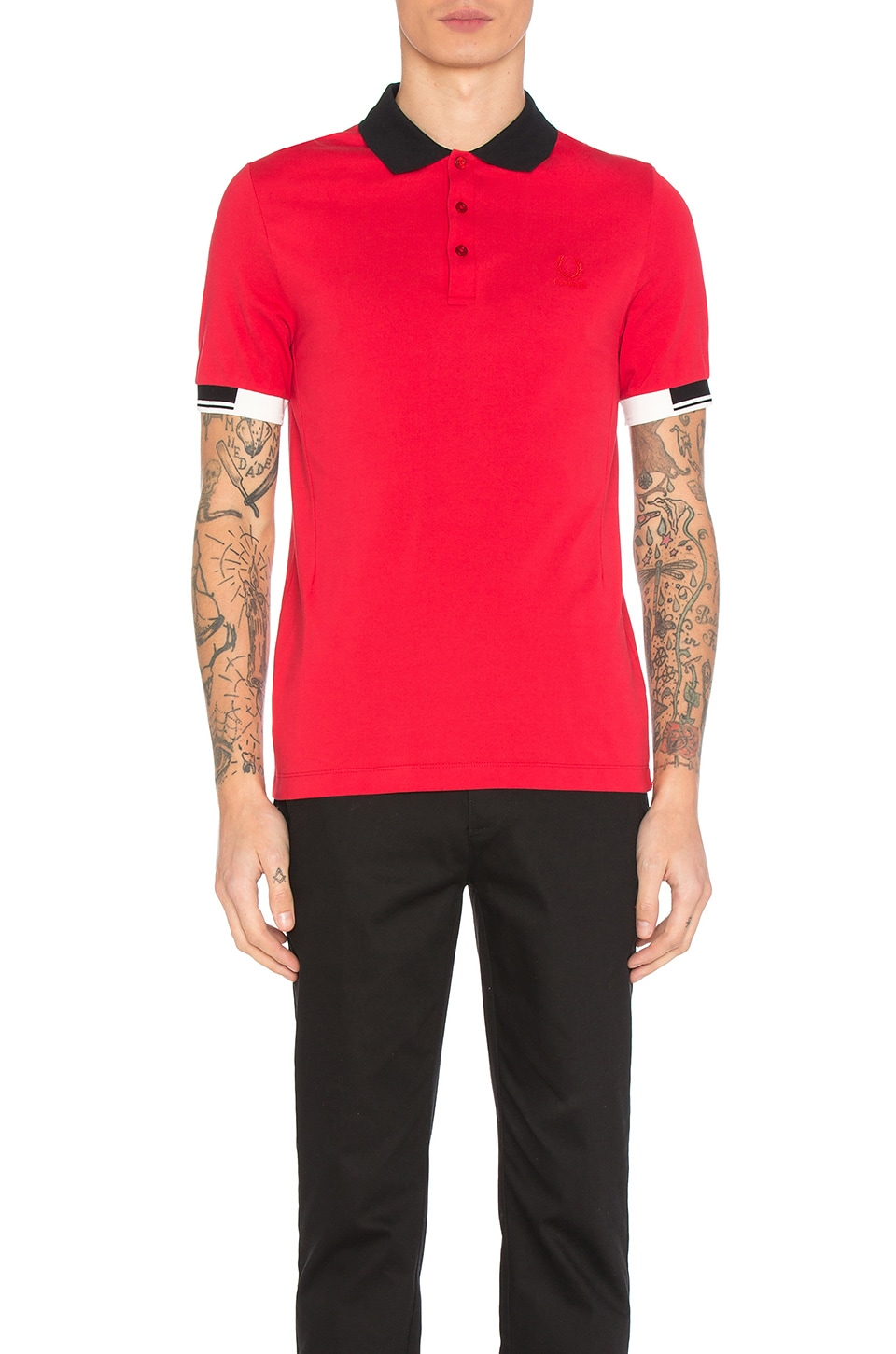 tipped cuff pique polo by fred perry x raf simons shop fred perry x raf simons men 39 s fashion. Black Bedroom Furniture Sets. Home Design Ideas