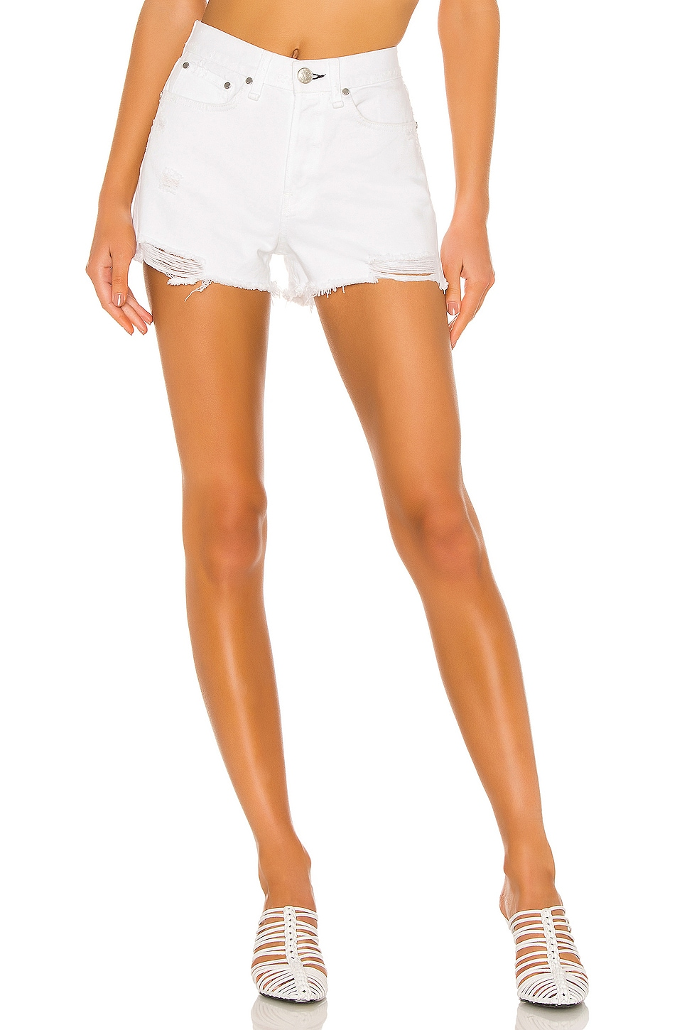 Rag & Bone Maya High Rise Short in White Tabby
