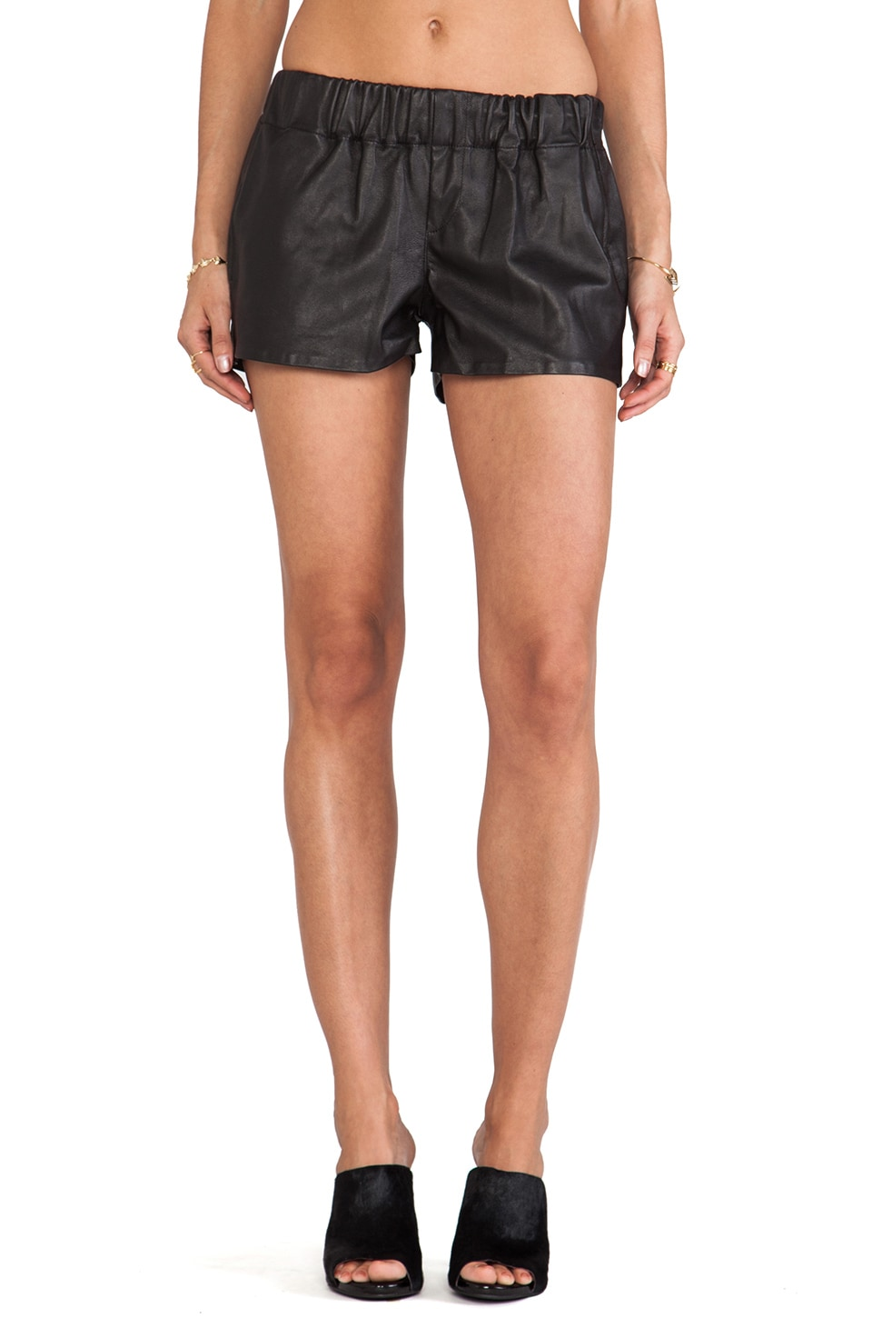 rag & bone/JEAN rag & bone Pajama Short in Black Leather
