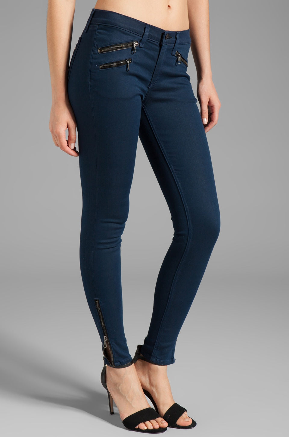 rag & bone/JEAN Mid Rise Zipper Legging in Cadet Blue