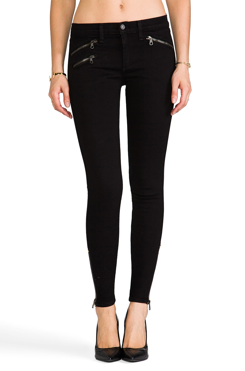 rag & bone/JEAN The Legging w/ Zips in Blackout