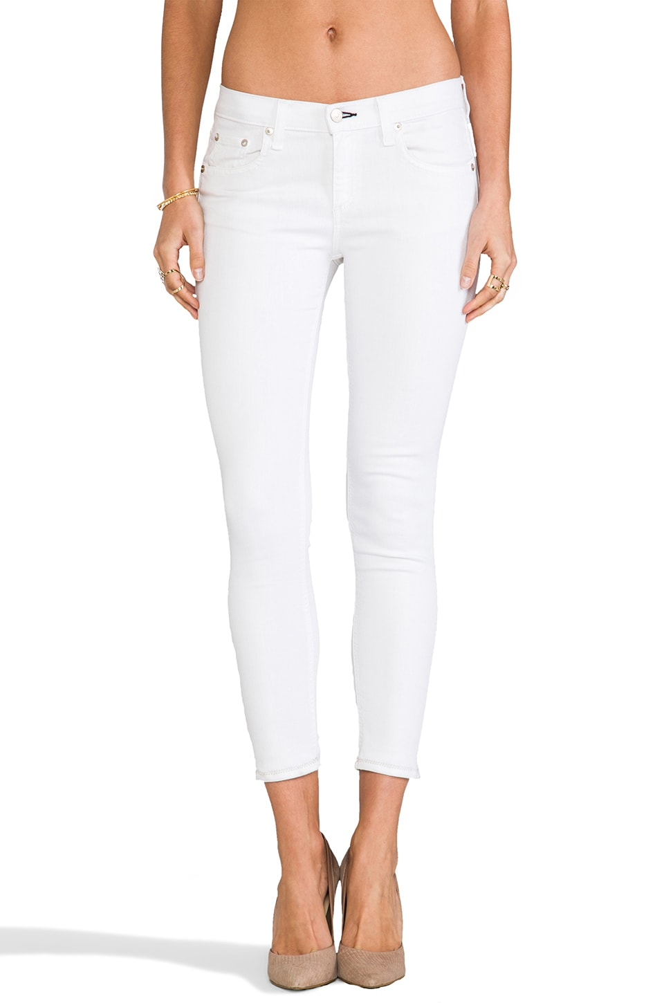 rag & bone/JEAN Repair Capri Jean in Bright White