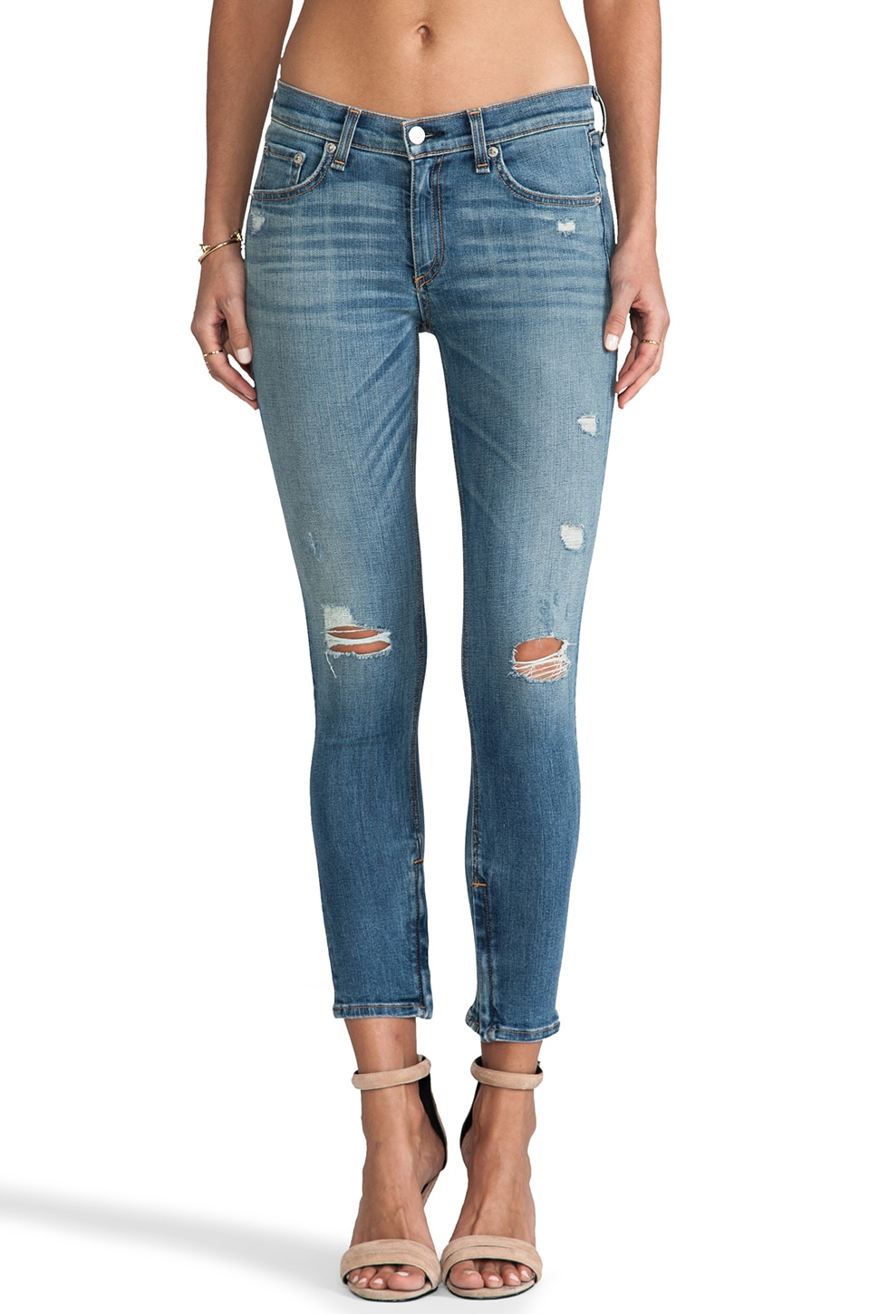 rag & bone/JEAN Zipper Capri in Shredded