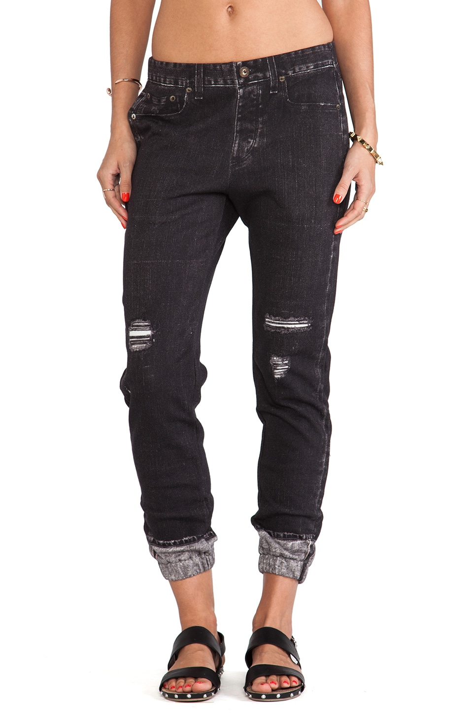 rag & bone/JEAN Miramar Pajama Jean in New Rock with Holes