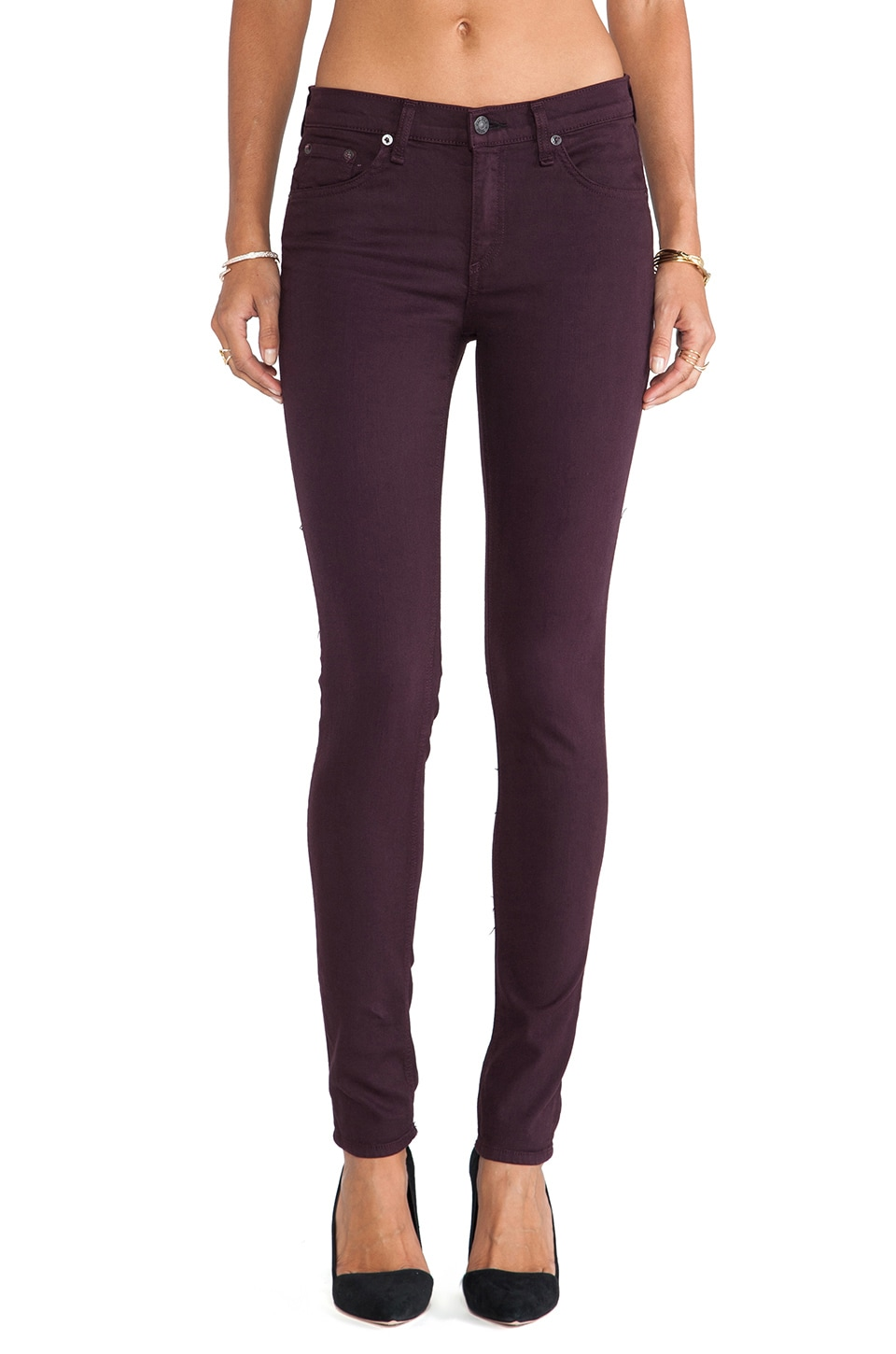 rag & bone/JEAN The Skinny in Distressed Wine