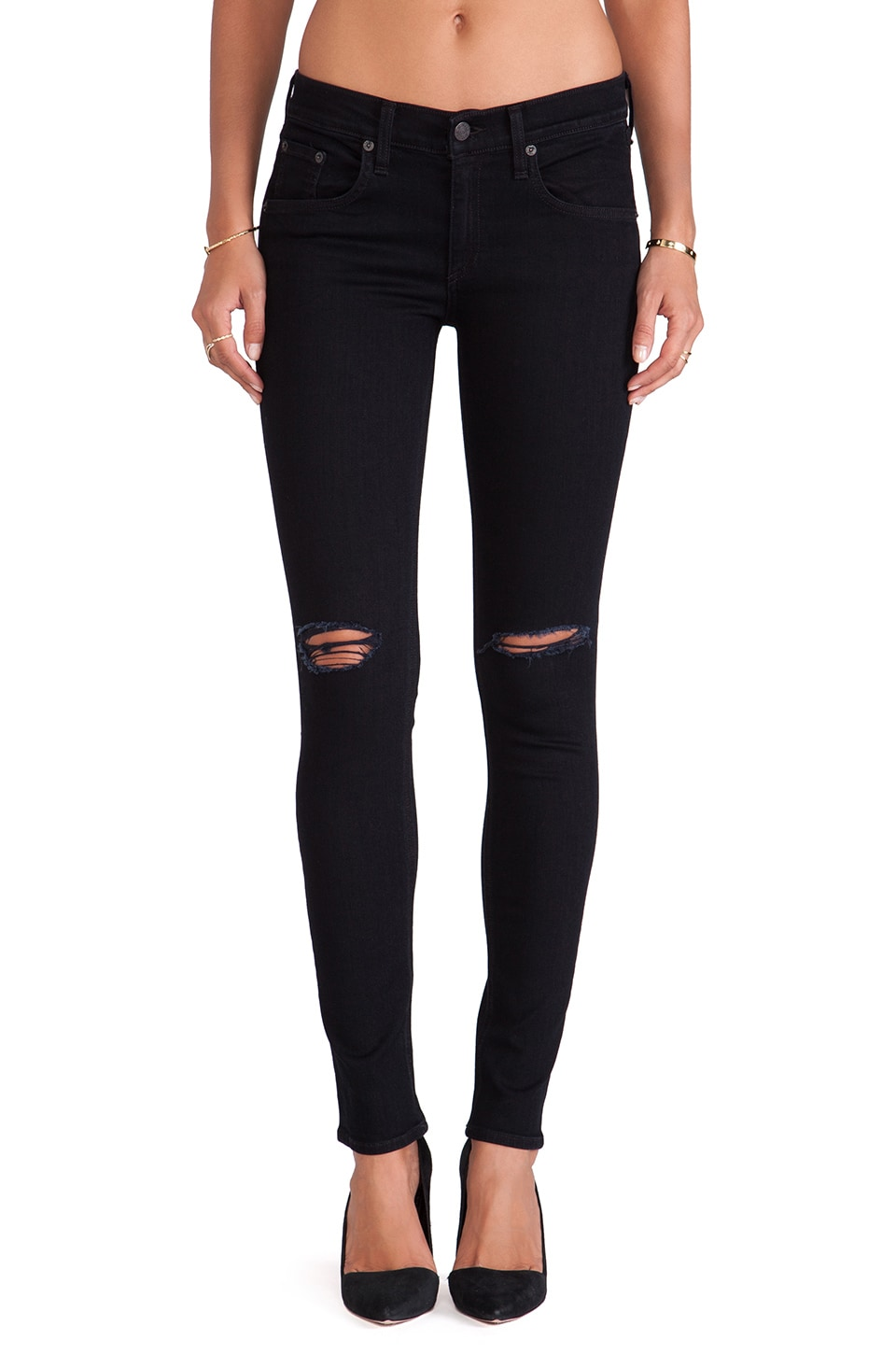 rag & bone/JEAN The Skinny in Coal w/ Holes