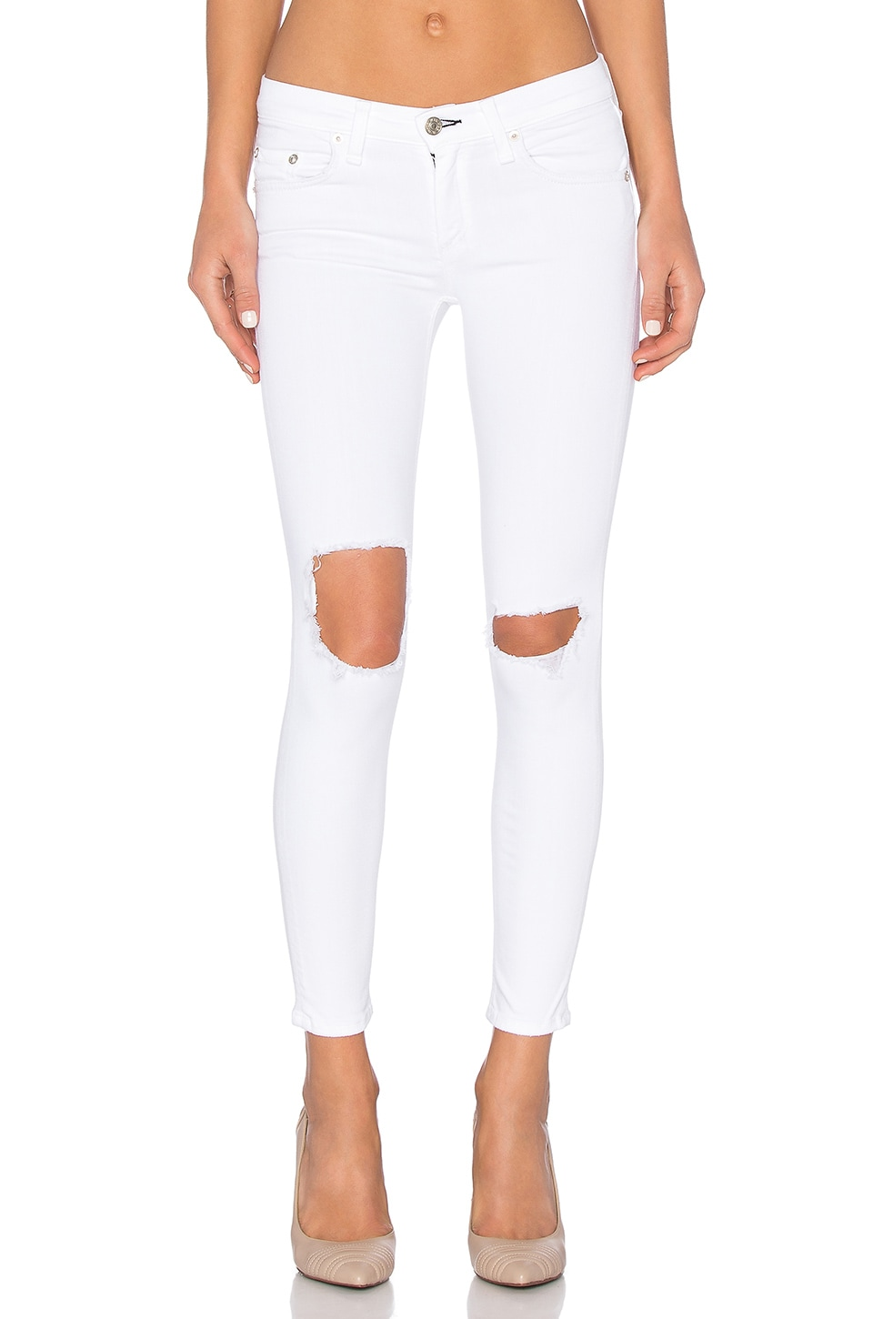 rag & bone/JEAN Mid Rise Capri in White with Holes