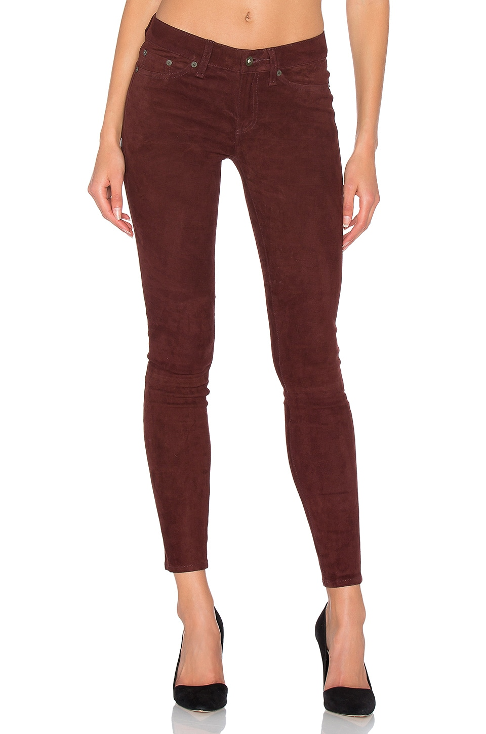 rag & bone/JEAN Skinny Suede Pants in Port Suede