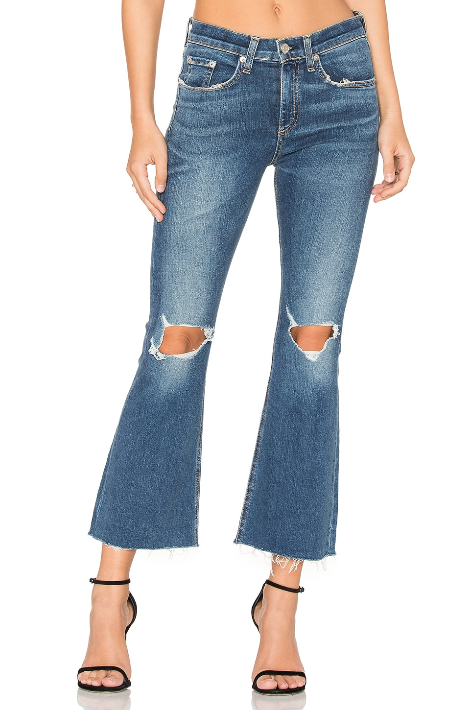 rag & bone/JEAN Distressed Crop Flare in Howell Hills