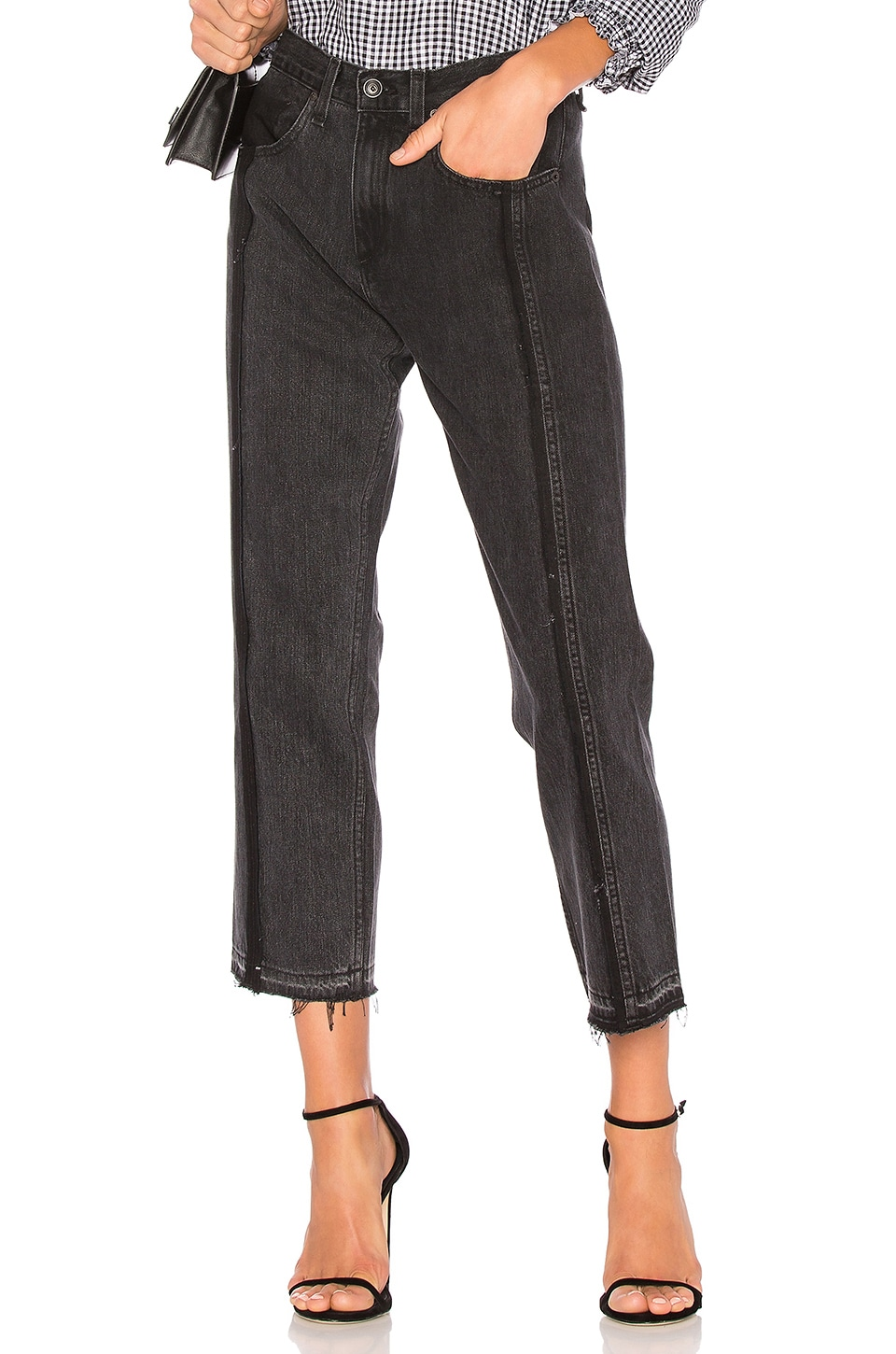 Mid-Rise Straight-Leg Seamed Cropped Denim Jeans, Black Magnolia