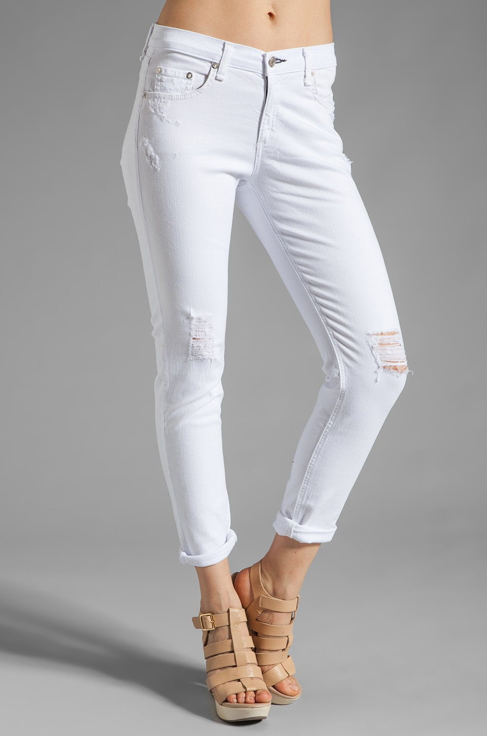 rag & bone/JEAN Slouchy Dash Skinny in Tattered White