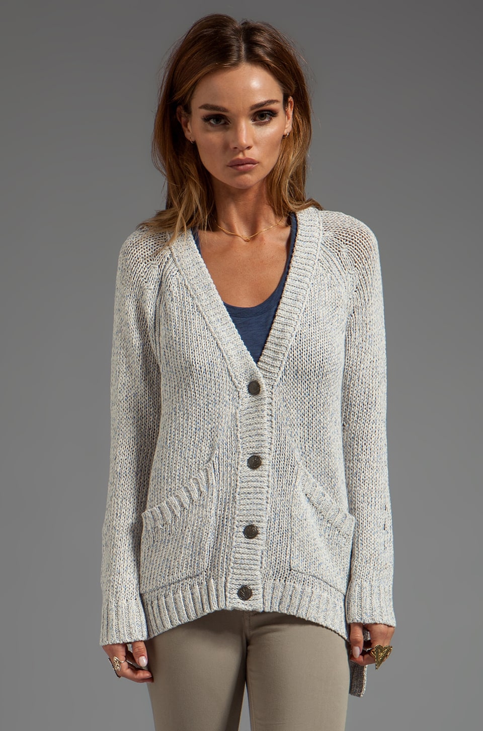 rag & bone/JEAN Candace Cardigan in Ivory/Lavender