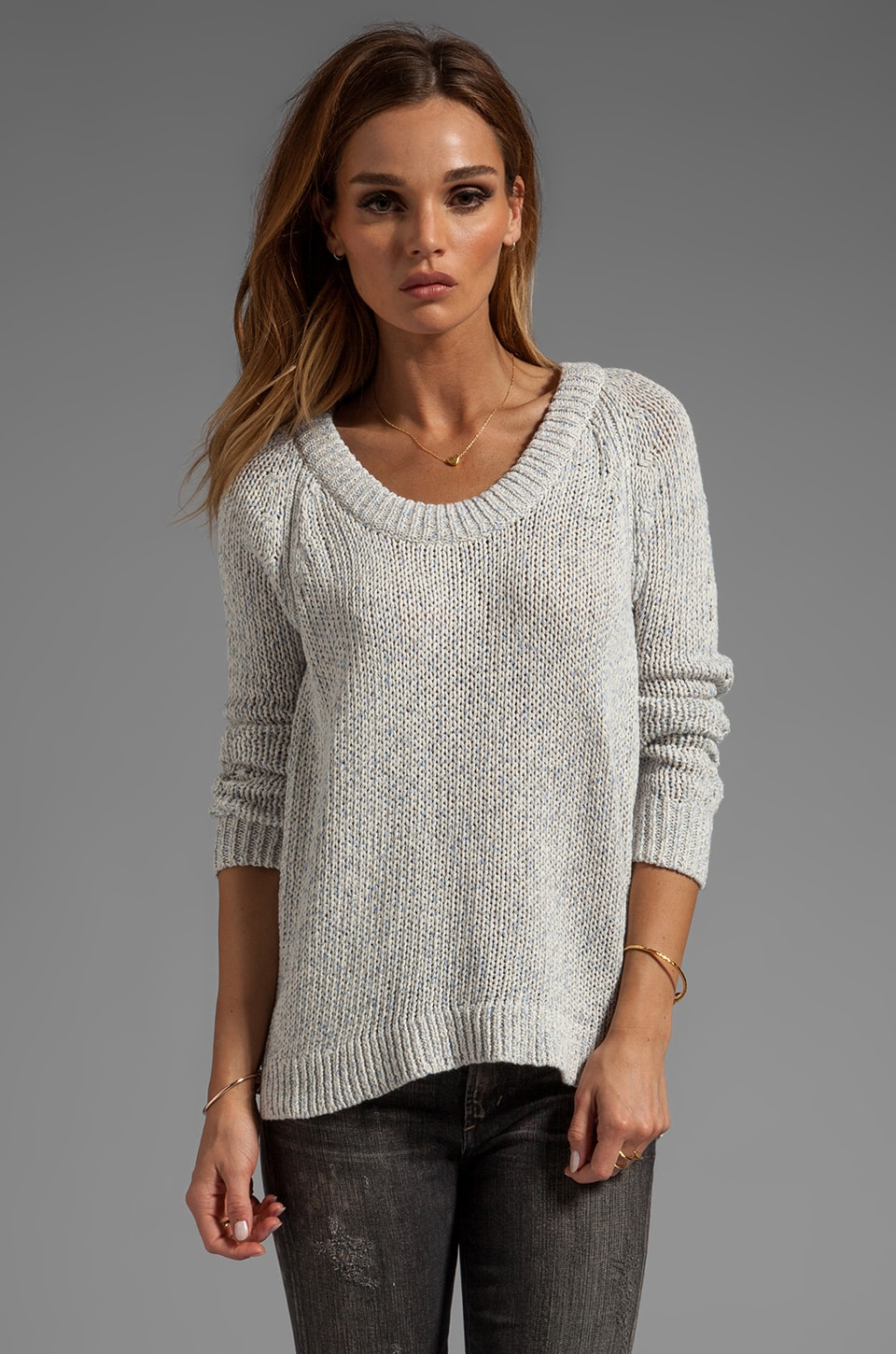 rag & bone/JEAN Candace Pullover Sweater in Ivory/Lavender