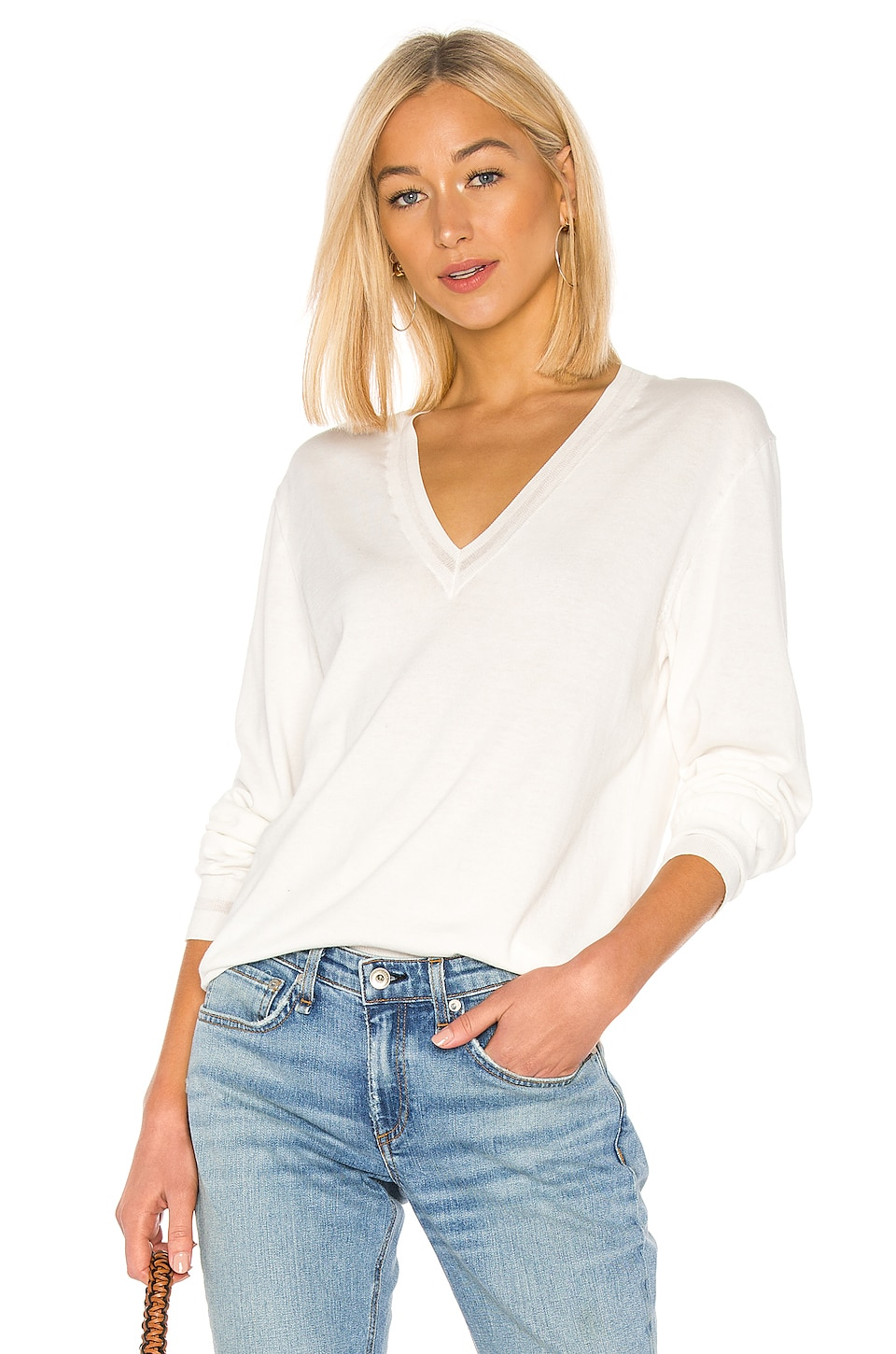 Rag & Bone Kento V Neck Sweater in White