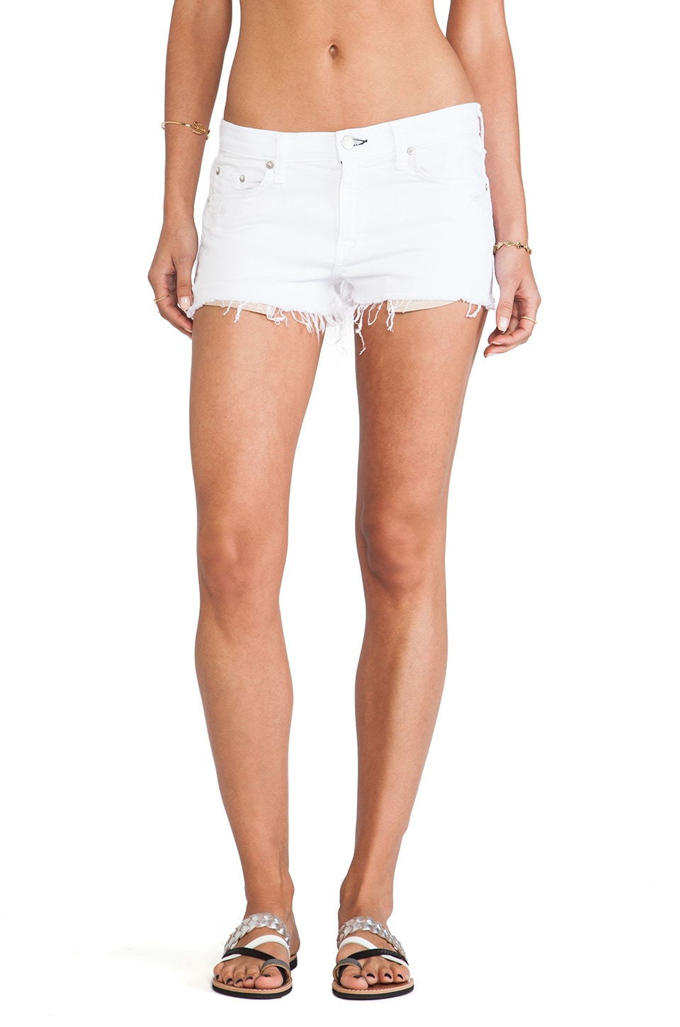 rag & bone/JEAN The Mila Short in Bright White Destroyed