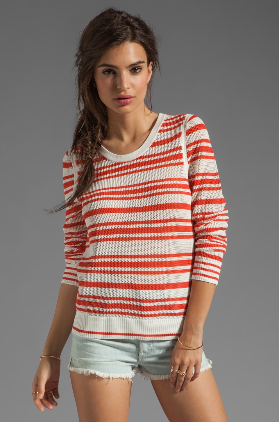 rag & bone/JEAN rag & bone Kathie Sweater in White/Coral